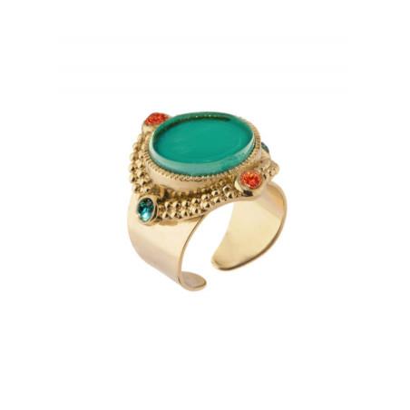 Bague glamour métal doré et cristaux | Bleu