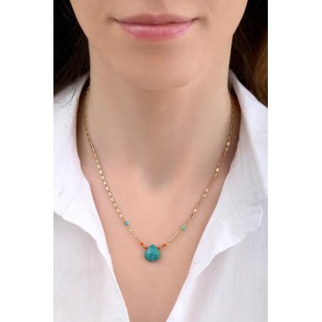 Collier pendentif ethnique turquoise I bleu85233