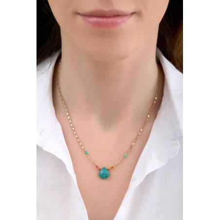 Ethnic turquoise pendant necklace I blue85233