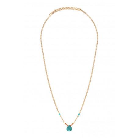 Collier pendentif ethnique turquoise I bleu