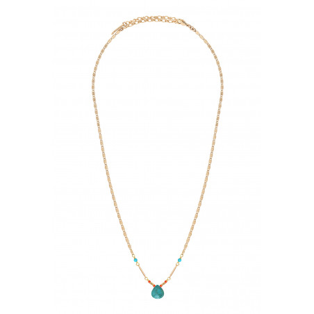 Ethnic turquoise pendant necklace I blue