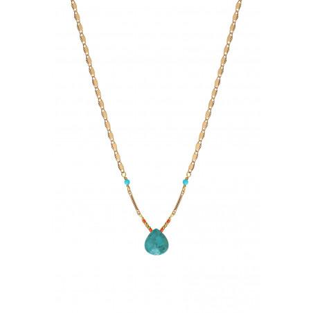 Collier pendentif ethnique turquoise I bleu85235