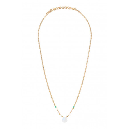 Collier pendentif minimaliste pierre de lune I blanc