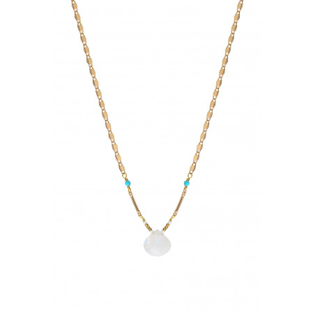 Collier pendentif minimaliste pierre de lune I blanc85238