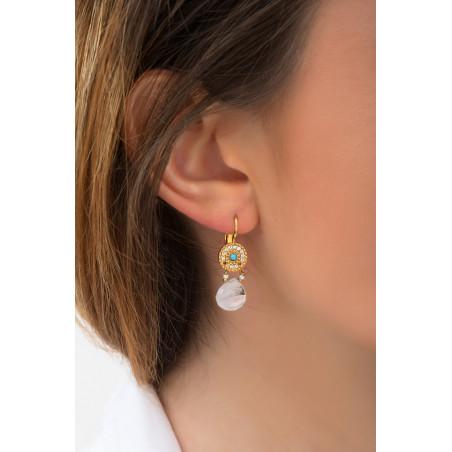 Boucles d'oreilles dormeuses poétiques pierre de lune I blanc85239