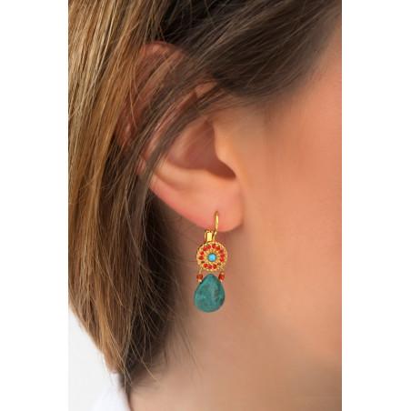Boucles d'oreilles dormeuses ethniques bleu I turquoise85241