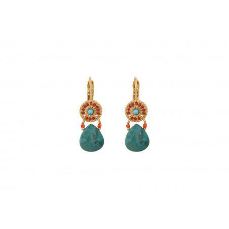 Boucles d'oreilles dormeuses ethniques bleu I turquoise