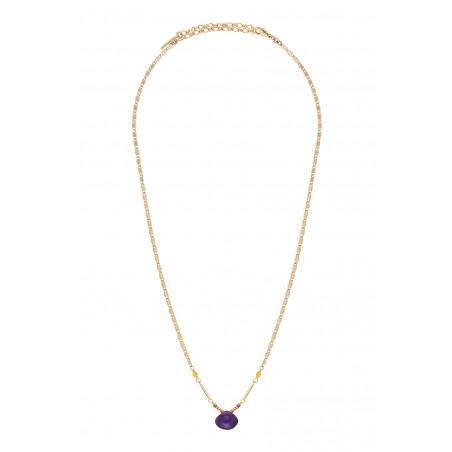 Collier pendentif ethnique améthyste et jade I violet