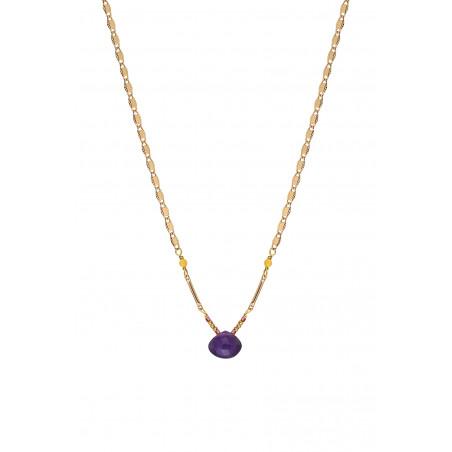 Collier pendentif ethnique améthyste et jade I violet85244
