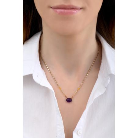 Collier pendentif ethnique améthyste et jade I violet85245