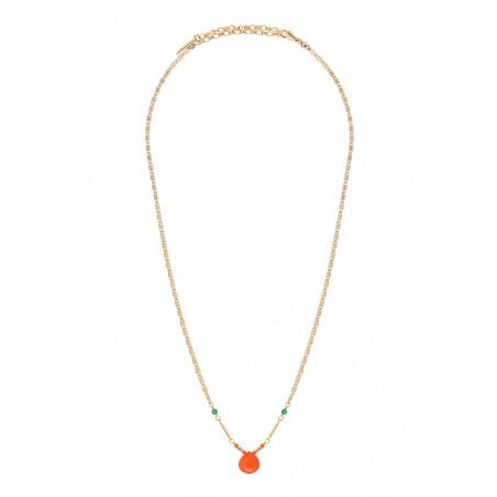 Collier pendentif fantaisie cornaline et agate I rouge