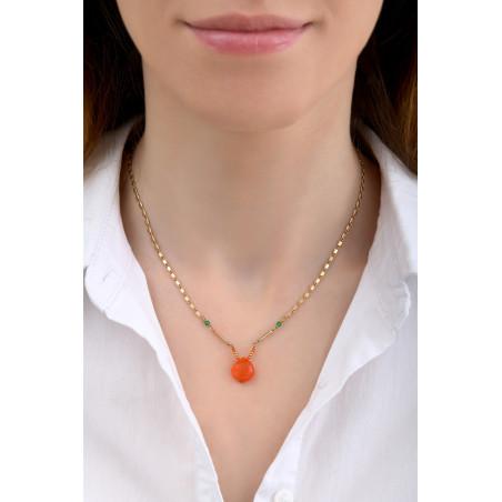 Collier pendentif fantaisie cornaline et agate I rouge85247