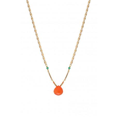 Collier pendentif fantaisie cornaline et agate I rouge85248