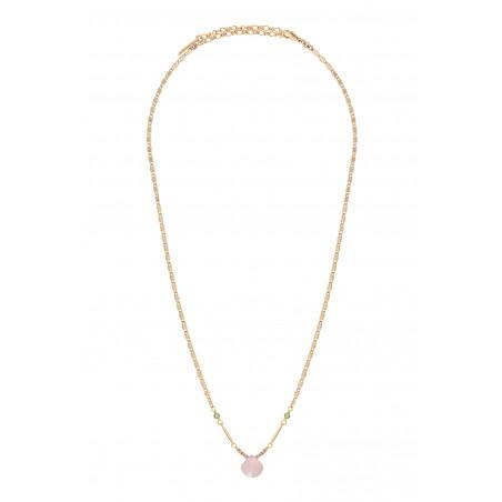 Collier pendentif romantique quartz et péridot I rose