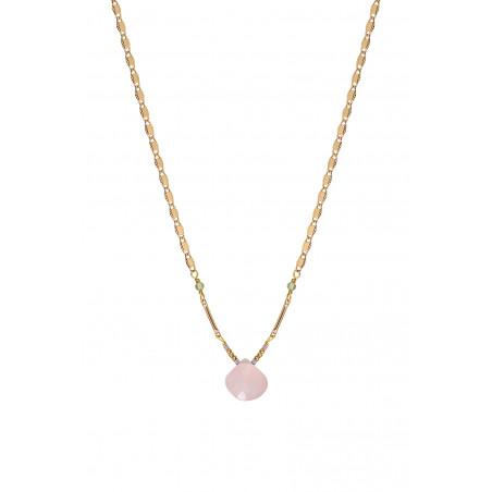 Collier pendentif romantique quartz et péridot I rose85250