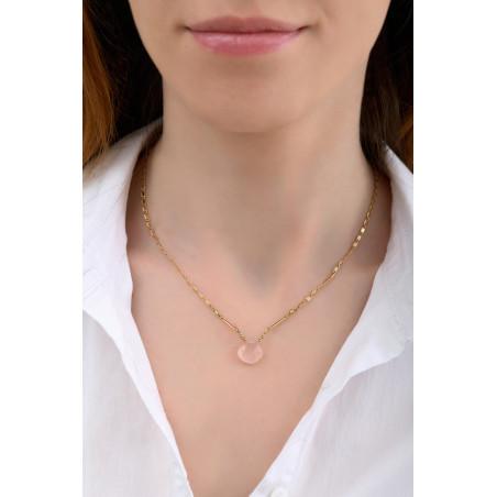 Collier pendentif romantique quartz et péridot I rose85251