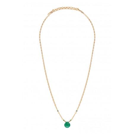 Collier pendentif glamour onyx et hématite I vert