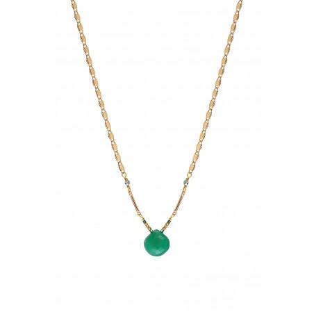 Collier pendentif glamour onyx et hématite I vert85253