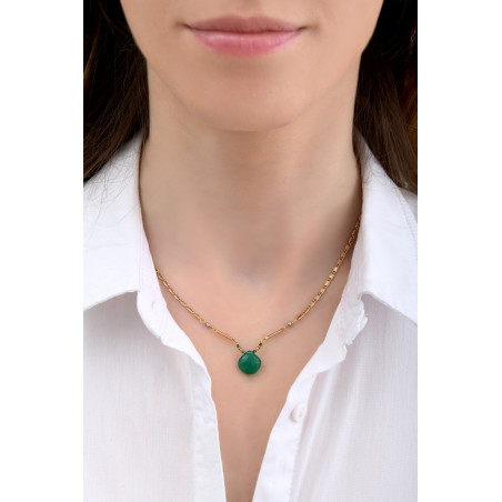 Collier pendentif glamour onyx et hématite I vert85254
