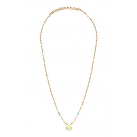 Collier pendentif raffiné quartz et turquoise I jaune