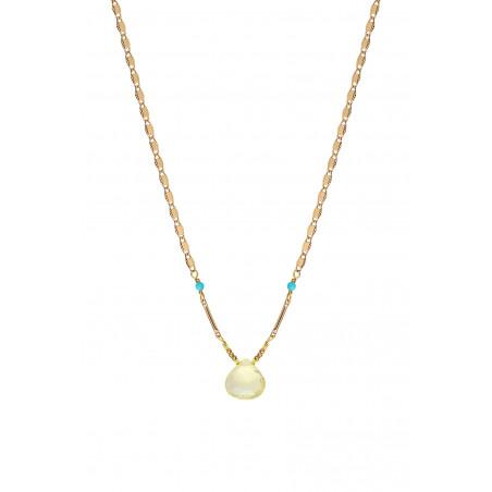 Collier pendentif raffiné quartz et turquoise I jaune85256