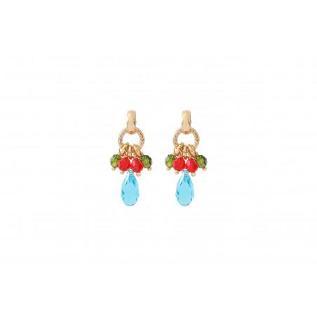 Boucles d'oreilles percées modernes perles cristal I multicolore
