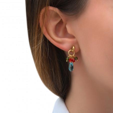 Boucles d'oreilles percées modernes perles cristal I multicolore85287