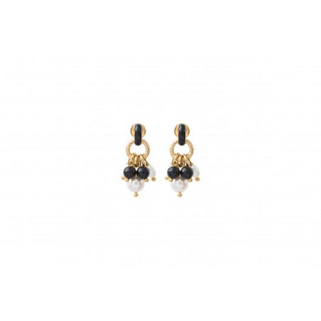 Boucles d'oreilles percées chics perles de rivière et onyx I noir