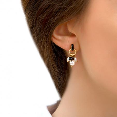 Boucles d'oreilles percées chics perles de rivière et onyx I noir85289