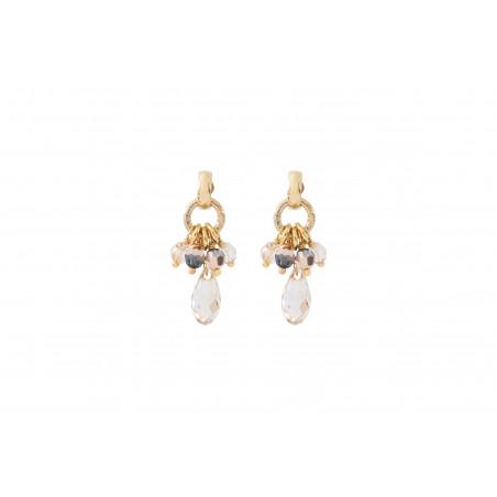 Boucles d'oreilles percées intemporelles perles cristal I doré