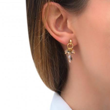 Boucles d'oreilles percées intemporelles perles cristal I doré85291