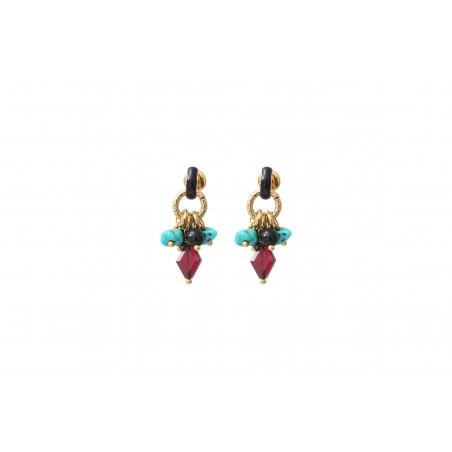 Boucles d'oreilles percées fantaisies grenat turquoise et onyx I rouge