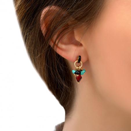 Boucles d'oreilles percées fantaisies grenat turquoise et onyx I rouge85295