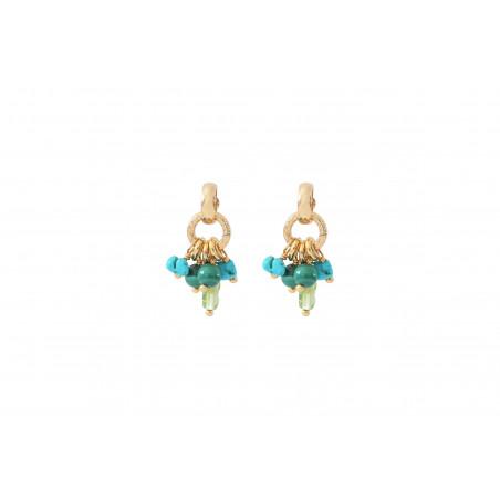 Boucles d'oreilles percées élégantes malachite et turquoise I vert