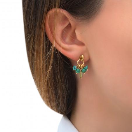 Boucles d'oreilles percées élégantes malachite et turquoise I vert85297
