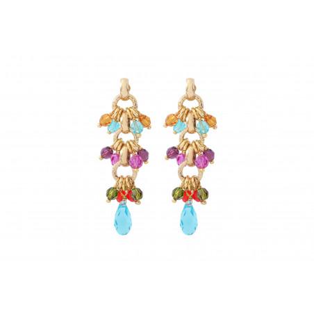 Boucles d'oreilles percées raffinées perles cristal I multicolore