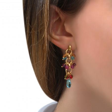 Boucles d'oreilles percées raffinées perles cristal I multicolore85299