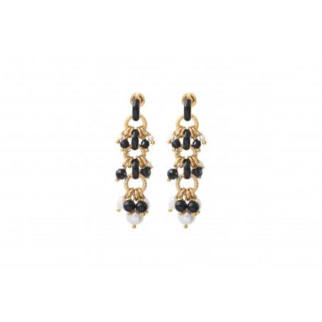 Boucles d'oreilles percées habillées perles de rivière et onyx I noir
