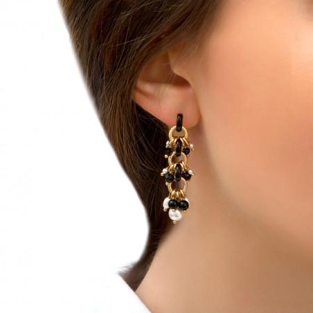 Boucles d'oreilles percées habillées perles de rivière et onyx I noir85301