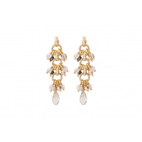 Boucles d'oreilles percées poétiques perles cristal I doré