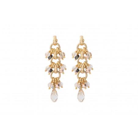 Poetic crystal bead earrings for pierced ears   golden