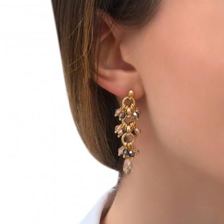 Boucles d'oreilles percées poétiques perles cristal I doré85303