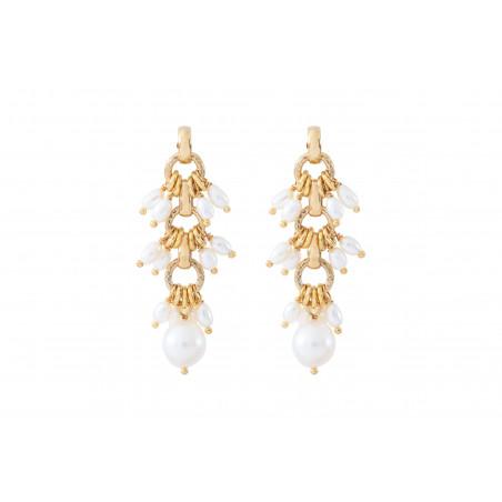 Boucles d'oreilles percées féminines perles de rivière I blanc