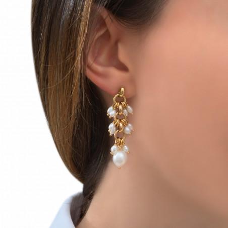 Boucles d'oreilles percées féminines perles de rivière I blanc85305