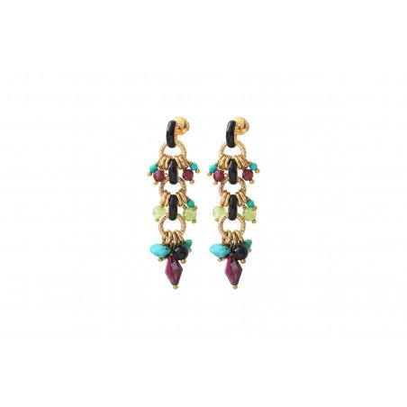 Boucles d'oreilles percées audacieuses grenat onyx et turquoise I rouge