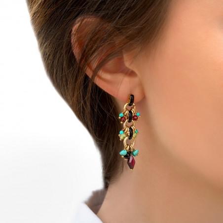 Boucles d'oreilles percées audacieuses grenat onyx et turquoise I rouge85307