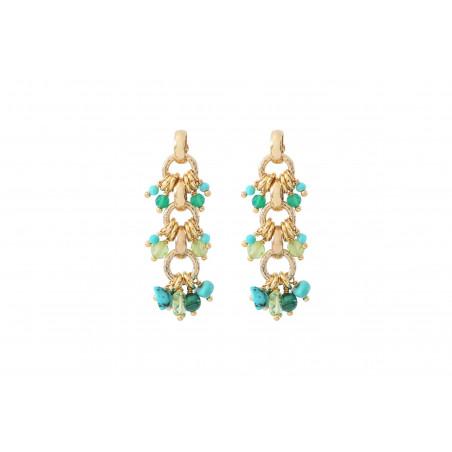 Boucles d'oreilles percées festives agate péridot et turquoise I vert