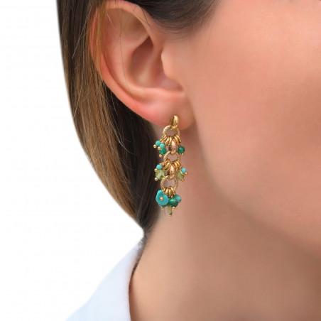 Boucles d'oreilles percées festives agate péridot et turquoise I vert85309