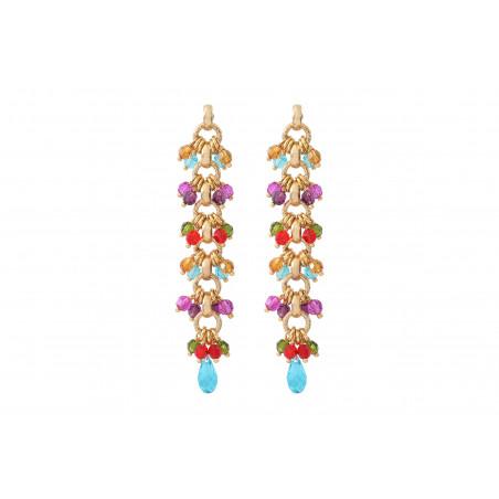 Boucles d'oreilles percées tendances perles cristal I multicolore