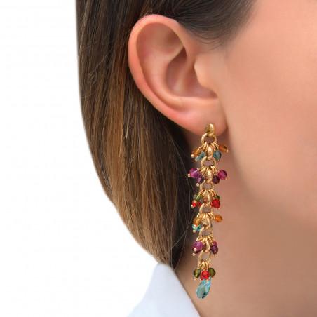 Boucles d'oreilles percées tendances perles cristal I multicolore85311